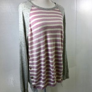 J Crew Side Buttoned Sweater Gray Pink and Ivory L